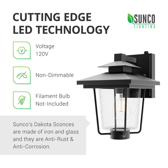 Cutting Edge LED Technology. Sunco's Dakota Sconces are made of wrought iron. They are anti-rust and anti-corrosion to resist the elements. These 120V, wet rated lighting fixtures are best used outdoors to apply their Dusk to Dawn technology to your outdoor lighting. This is a non-dimmable fixture. Filament bulb shown in the E26 socket is not included with the sconce.