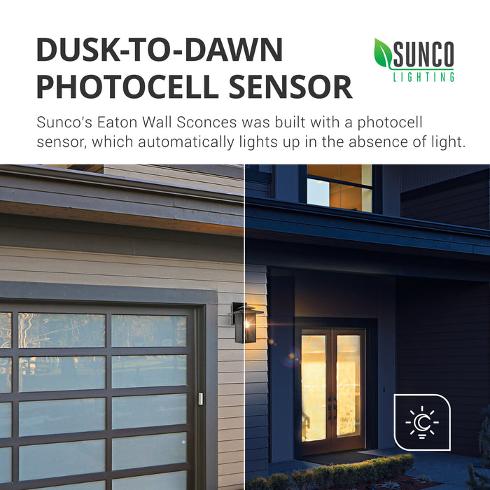 Dusk to Dawn Photocell Sensor included. Sunco's Eaton Wall Sconce features a photocell sensor to automatically light up in the absence of light at night and auto turn off during the day. No timer needed, the sensor works on its own. This image features the front of a home with half of the image during the bright light of day and half at night with the wall sconce lit up to welcome you home with bright light. Fast install Sunco wall sconces are decorative and functional.