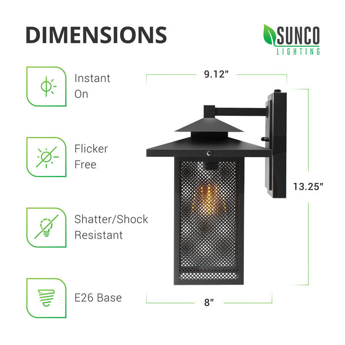 Dimensions. Sunco's Eaton Caged Wall Sconce with Dusk to Dawn is shatter-, and shock-resistant and accepts an E26 base light bulb to provide instant on, flicker free light. Dimensions are: 9.12 inches deep (to wall from front of fixture), 13.25 inches tall, and the fixture is 8 inches wide. Fixture is easily installed via direct wire with our simple installation manual. Image shows the side view so you can see the steel mesh panes inside the rust resistant, black, wrought iron frame.