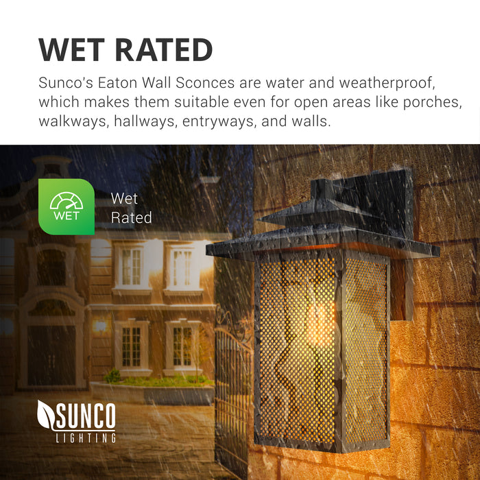Wet Rated. Sunco Lighting's Eaton Wall Sconces are water and weatherproof with an IP65 rating. They are suitable for open areas like porches, walkways, exterior hallways, entrances, and along walls. The Eaton Caged Wall Sconce is pictured here on an exterior wall at a house in the rain. Since it is nighttime, the built-in Dusk to Dawn sensor has automatically turned on the light bulb.