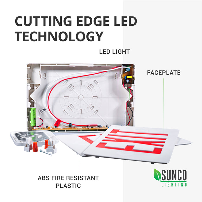Cutting Edge LED Technology is included in our Sunco LED Exit Sign, Red, Damp Rated. This image shows the inside of our light fixture with callouts pointing to the LED light, ABS fire resistant plastic housing, and the faceplate. Includes two face plates so you can select single-sided (wall mount) or double-sided (ceiling mount) to point the way to the nearest exit and customize exit sign to suit each mount point.
