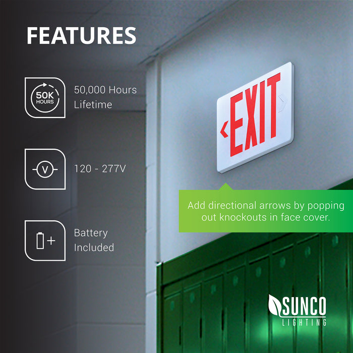 Wall mount a damp rated Sunco LED Exit Sign with 6-inch tall red letters on the wall of your school, hospital, apartment complex, office hallway, stairwell, or access corridor to indicate the exit location. As shown, the single-sided sign mounted on a wall (you can mount on ceiling as double-sided, too!) includes directional arrows. Simply pop out knockout to point the way to safety. 50,000 hour lifetime, 120/277V commercial grade exit sign, with battery included for 90-minutes backup power