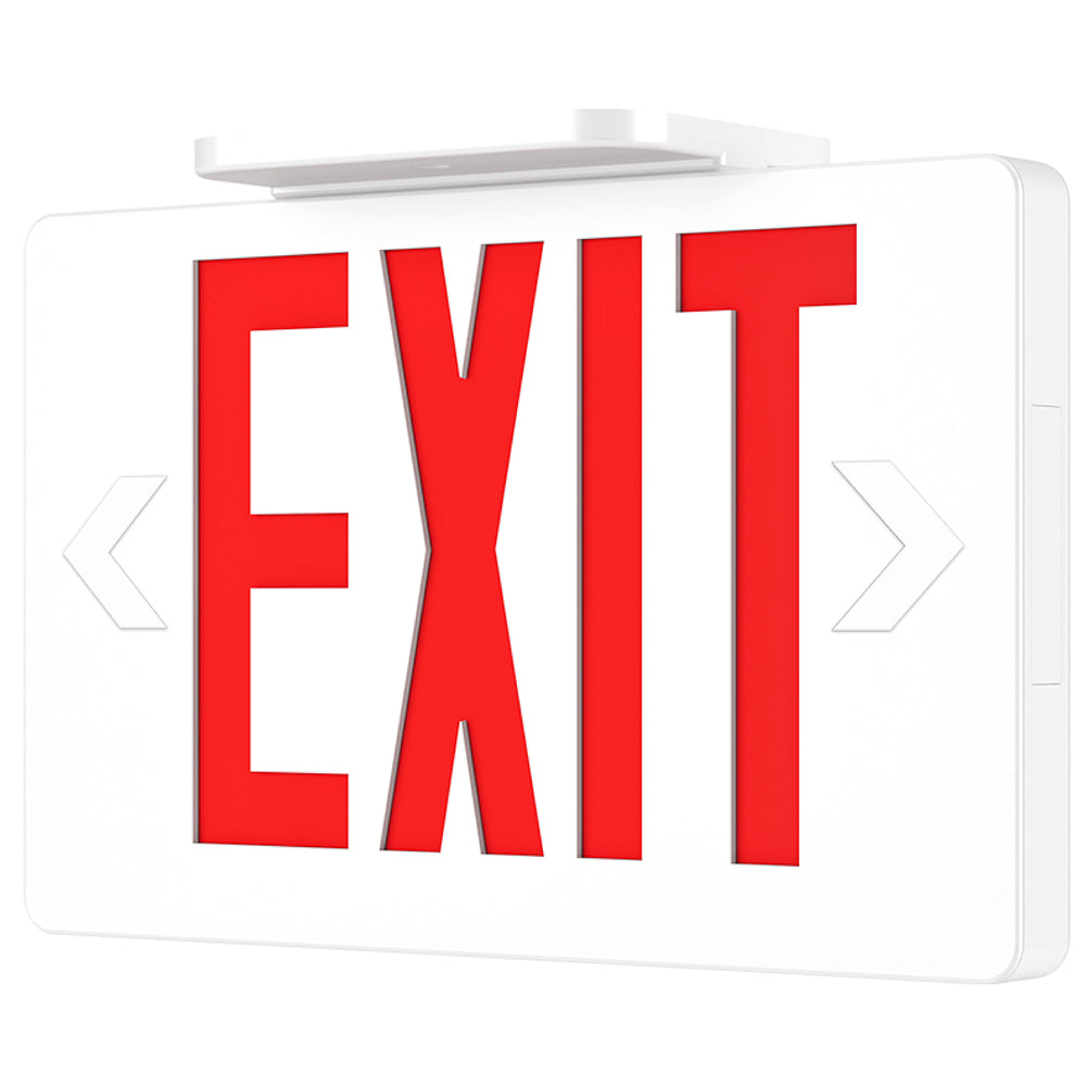 This Sunco LED Exit Sign offers 6-inch tall, red letters with a ¾-inch stroke. The letters are visible from up to 100 feet away. This damp rated sign for indoor use includes a backup battery that turns on the LED to illuminate the way to safety during an emergency or power outage. Use the plastic knockouts as directional arrows to point to an exit. The arrows and visible lettering help your customers, visitors, employees, clients, and first responders quickly locate the exits in a blackout.