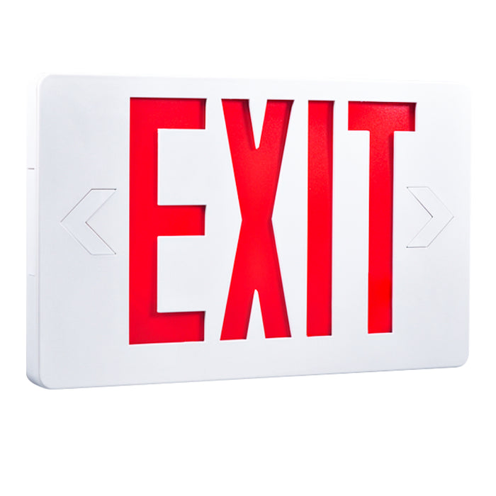 Mount this Sunco LED Exit Sign, Red, Damp Rated on a ceiling or a wall. Mounting equipment is included inside the fixture. Choose to add one face plate for single-sided exit sign or two for double-sided exit sign. Knockouts pop out quickly to add directional arrows to point to the nearest exit. Sign includes a 90-minute backup battery to light up the LED during a power outage. UL 94V-0 rating for fire safety due to certified fire resistance and self-extinguishing characteristics.