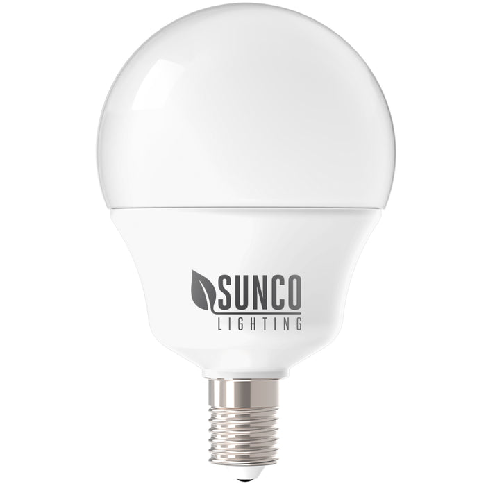 The Sunco G14 LED Bulb is a decorative, candelabra base bulb with a small Edison screw base E12 and a frosted, durable housing. This UL listed light bulb with a globe shape fits well in vanities, pendant lamps, and other fixtures with an E12 socket. This 5W bulb is a 40W equivalent. The bulb is damp rated for indoor applications.
