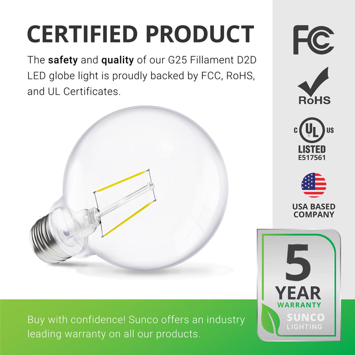 G25 LED Bulb, Filament, Dusk to Dawn