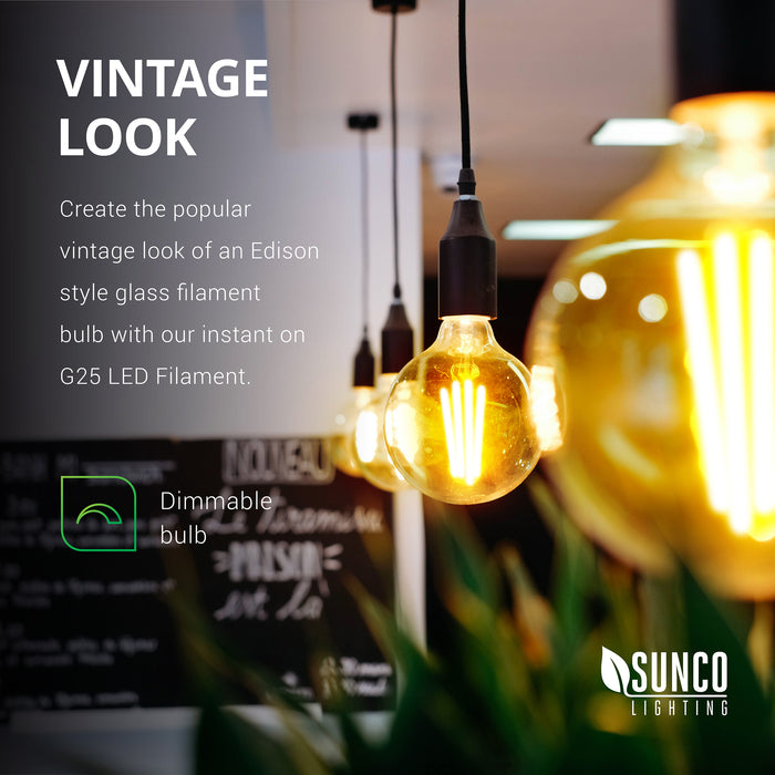 Create the popular vintage look of an Edison style glass filament bulb with our instant on G25 LED Filament. This is a dimmable bulb!