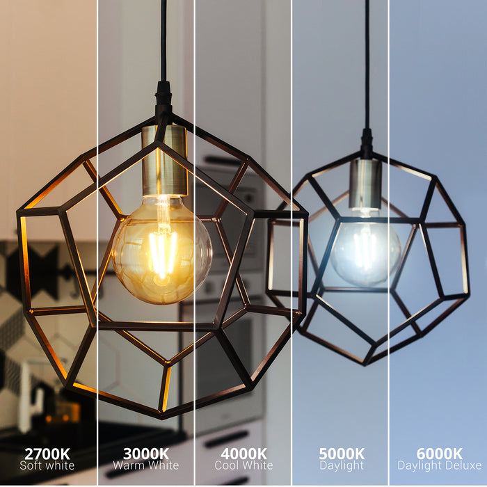 Sunco's G25 LED Filament Bulb comes in multiple color temperature options: 2700K Soft White and 3000K Warm White.