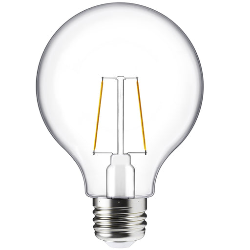 G25 LED Globe Filament Bulb shown without illumination so you can see the LED filaments inside the glass bulb with the E26 base.