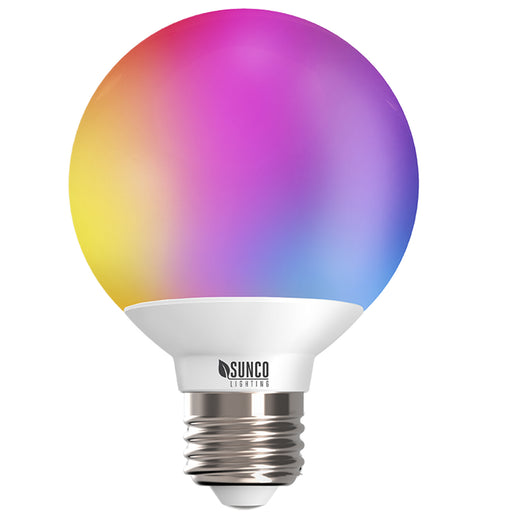 G25 Globe LED Smart Bulb home dimmable rgb cct color temperatures hue rainbow voice control No Hub required app schedules scenes music sync. Alexa Google Assistant compatible with voice control option