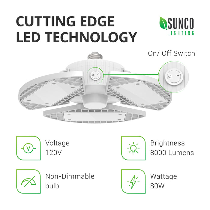 sunco lighting led light bulb Trilight LED garage light cutting edge led technology with 8000 lumens 120v 80w non-dimmable bulb