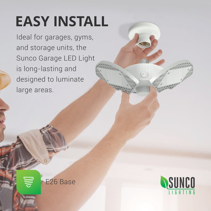 sunco lighting led light bulb Trilight LED garage light easy install for garages gyms and storage units with long lasting life for large areas it features E26 base