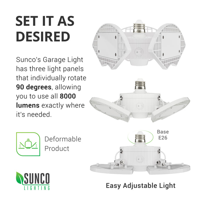 sunco lighting led light bulb Trilight LED garage light set each individual rotating panel up to 90 degrees to place 8000 lumens of bright light where you need it features E26 base