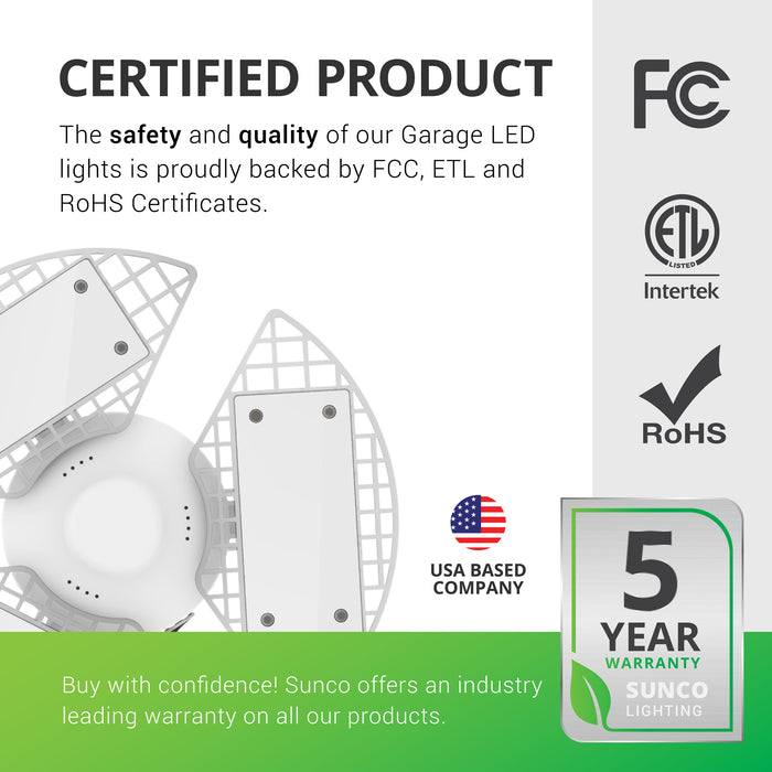 sunco lighting led light bulb Trilight LED garage light certified product backed by fcc etl rohs certificates with industry leading warranty
