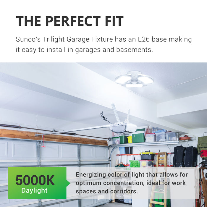 sunco lighting led light bulb Trilight LED garage light available in 5000K daylight color temperature works well in workshops garages basements corridors and workspaces