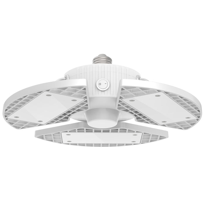 The Sunco Trilight LED Garage Light features 3 adjustable panels and an E26 base. The deformable nature of this light means you can adjust the 3 panels up to 90-degrees to point the 8000 lumens of light right where you need it. This light suits garages, basements, laundry rooms, walk-in pantries or freezers, and other areas where you need bright lighting overhead.