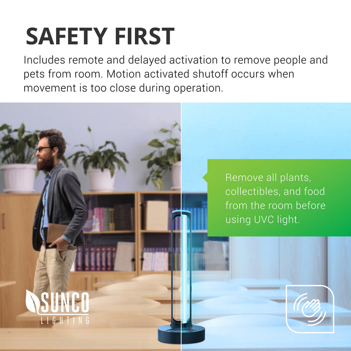 Safety First. Our Ultraviolet light fixture for surface disinfection includes remote and delayed activation to allow you to remove people and pets from the room. Motion activated shutoff occurs when movement is too close during operation. Be sure to remove all plants, collectibles, people, pets, and food from the room before using UVC light.