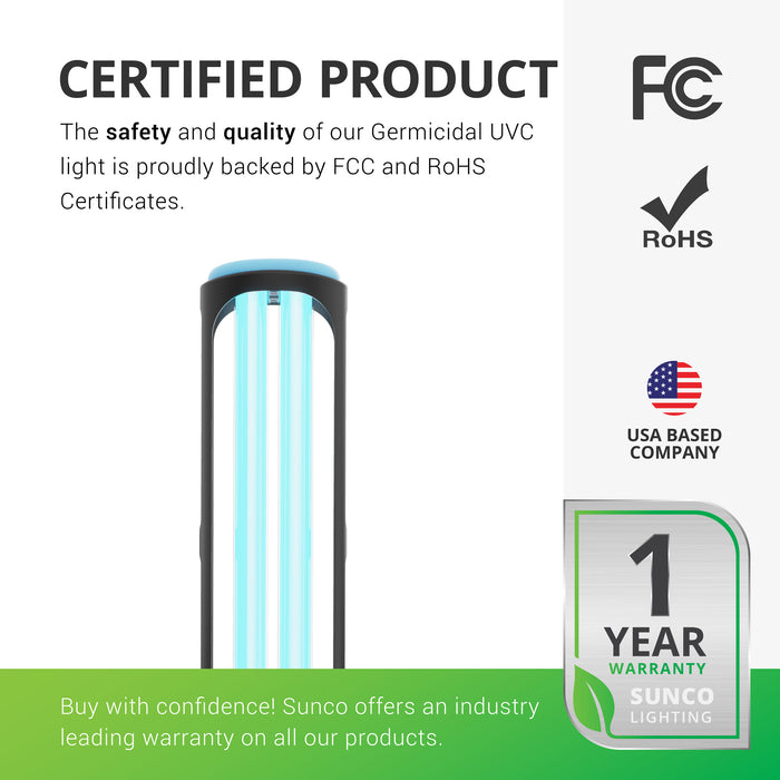 Certified Product. This UVC light includes a 1 year warranty from Sunco Lighting. We are American owned and operated. We are proudly based in the USA. Image shows closeup of the ultraviolet lamp. Be sure to use the included remote and remove people, pets, and plants prior to use. Safety measures included.