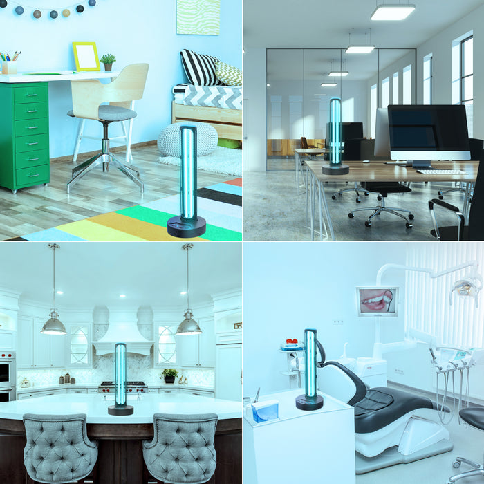 Applications of the Sunco Germicidal UVC Lamp include these four images and other uses not shown. Images include UVC light in spaces with no people present: college dorm or child's room standing on the floor for 360-degree coverage, on a desk in an office open workspace environment, on the kitchen counter in a home, and in a dental office.