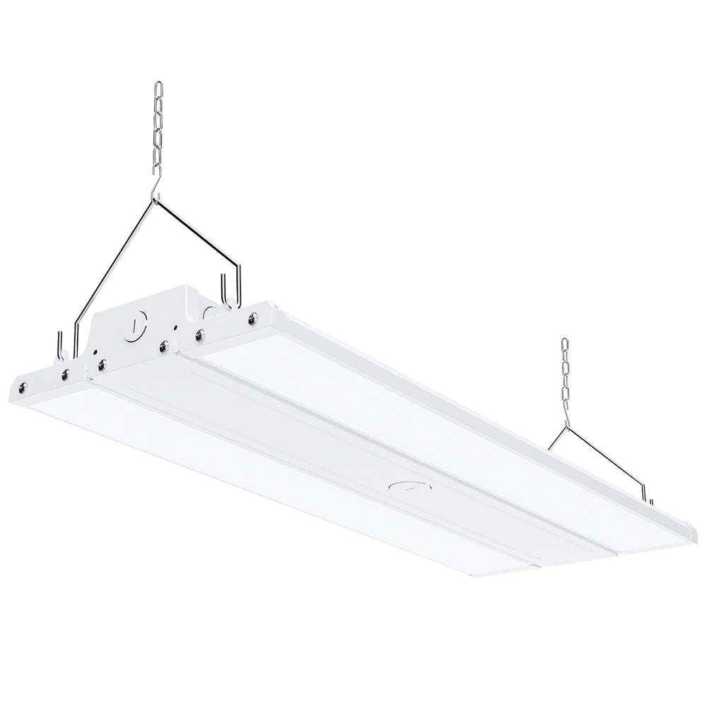 Dimmable 110W LED Linear High Bay from Sunco Lighting is 2 feet long and offers instant on, bright light for warehouse, gymnasium, workshop or industrial space. This 15400 lumen area light comes with chains for hanging high bay light fixture. The 110W LED is a 400W equivalent with a beam spread of 19ft to 26ft. The fixture is UL listed and FCC certified. Dim via 1-10V dimming.