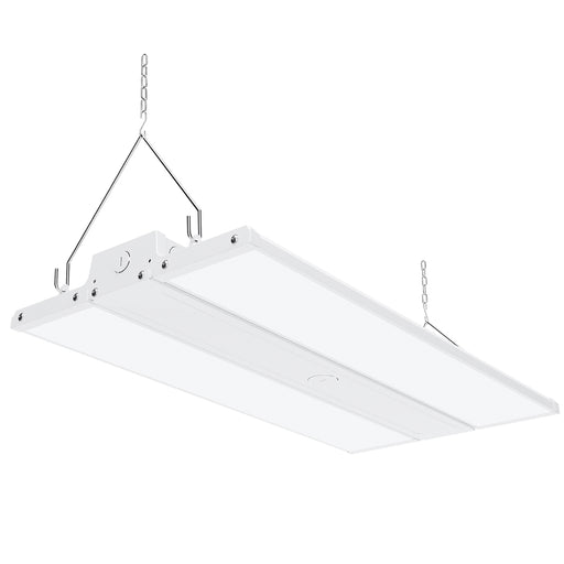 Dimmable 160W LED Linear High Bay from Sunco Lighting is 2 feet long and offers instant on, bright light for warehouse, gymnasium, workshop or industrial space. This 22400 lumen area light comes with chains for hanging high bay light fixture. The 160W LED is a 600W equivalent with a beam spread of 36ft to 70ft. The fixture is UL listed and FCC certified. Dim via 1-10V dimming.