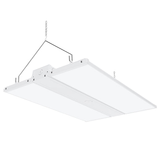Dimmable 220W LED Linear High Bay from Sunco Lighting is 2 feet long and offers instant on, bright light for warehouse, gymnasium, workshop or industrial space. This 30800 lumen area light comes with chains for hanging high bay light fixture. The 220W LED is a 800W equivalent with a beam spread of 38ft to 72ft. The fixture is UL listed and FCC certified. Dim via 1-10V dimming.