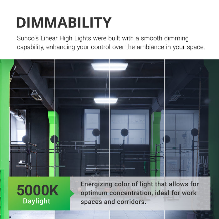 Dimmability. Sunco's linear high bay lights were built with a smooth dimming capability to enhance your control over the ambiance of your space. Image shows a gymnasium with a range of shaded to bright areas to simulate the dimmable quality of this area light. Sunco Linear High Bay lights are suspended overhead from the included chains and V hooks.