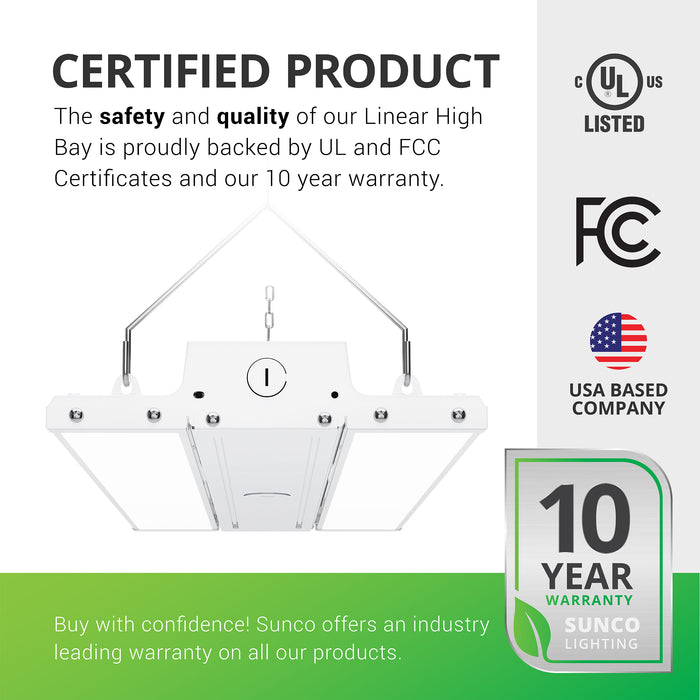 Certified Product. The safety and quality of our Linear High Bay is proudly backed by a UL certificate and a 10-year warranty. Sunco offers an industry leading warranty on all of our products. This high bay fixture is UL listed. Image shows the 110W Linear High Bay with its included V hooks and hanging chains, along with the frosted lens. Fixture is seen at an angle from below. Sunco is American owned and operated. We are based in the USA with our headquarters in sunny California.