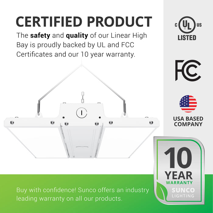 Certified Product. The safety and quality of our Linear High Bay is proudly backed by a UL certificate and a 10-year warranty. Sunco offers an industry leading warranty on all of our products. This LED high bay fixture is UL listed. Image shows the 160W Linear High Bay with its included V hooks and hanging chains, along with the frosted lens. Fixture is seen at an angle from below. Sunco is American owned and operated. We are based in the USA with our headquarters in sunny California.