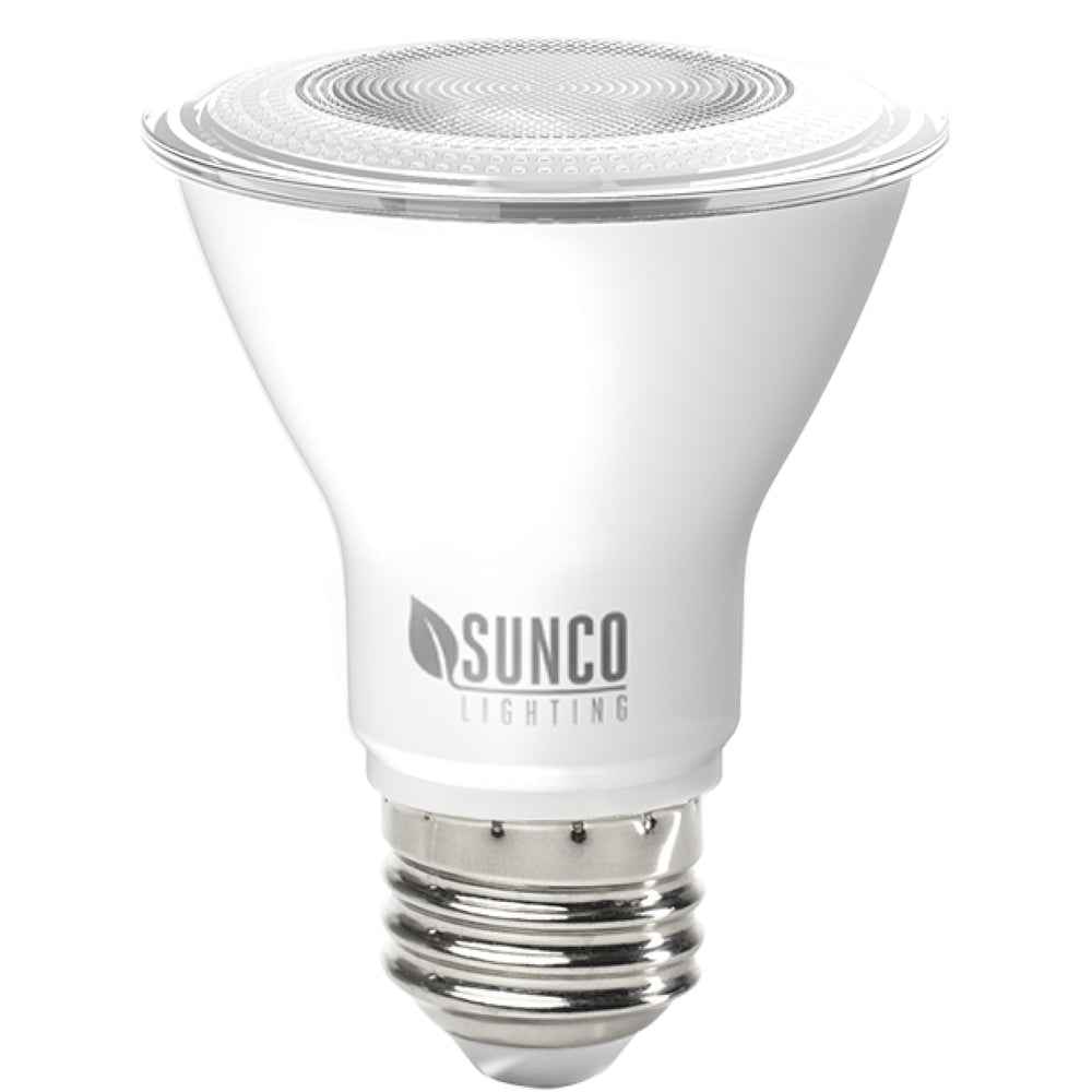 The Sunco Lighting PAR20 LED Bulb with its E26 base is waterproof for outdoor lighting applications. The dimmable bulb works great for spotlighting trees, signs, or sculptures in your landscaping, along with highlighting architectural details. This 7W bulb is a 50W equivalent to help reduce your electric bills when compared to a traditional light bulb. Inside you can use it for highlighting paintings, artwork, or architectural details as a track lighting or recessed lighting solution.