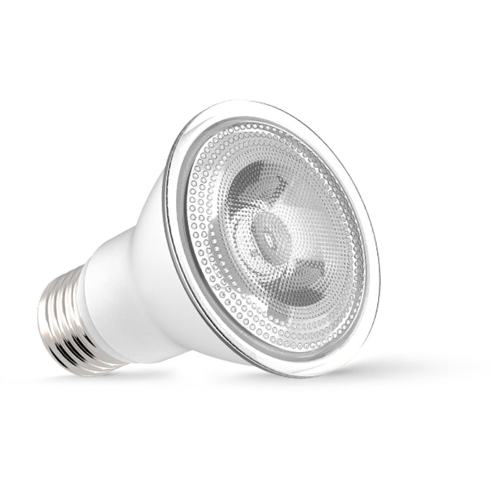 This PAR20 LED Bulb offers a bright light in a spot beam spread of 40-degrees. Its E26 base makes it a perfect LED replacement bulb, especially since it is IP65 wet rated for outdoor use. Use it for landscaping outside or as a spotlight inside for artwork, sculptures, and architectural details. Its compact form makes it fit in 4-inch recessed cans for reliable downlight in your office, living room, kitchen, or bath.