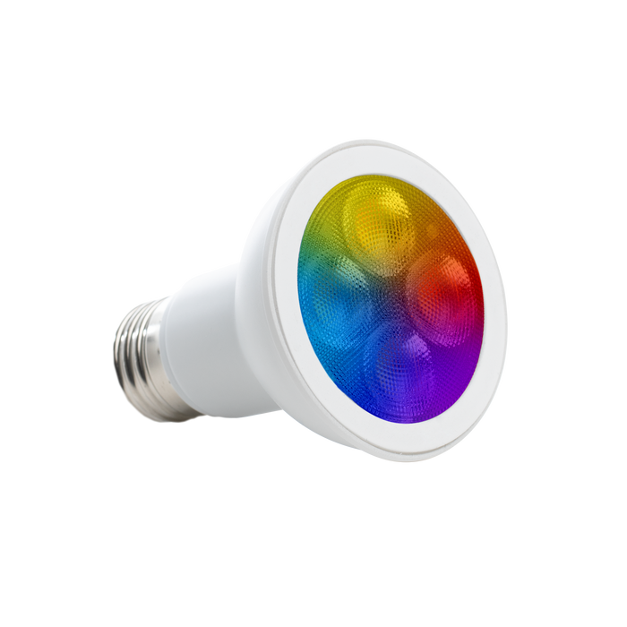 This spotlight, wet rated light bulb can be controlled via smart device with an app over WiFi. Change your landscape lighting by selecting from a 16 million color wheel or selecting warm or cool color temperatures. You can set a schedule for light on/off, have the light change colors to the tune of music with music sync, and select a scene from what is pre-made or design your own look and feel.