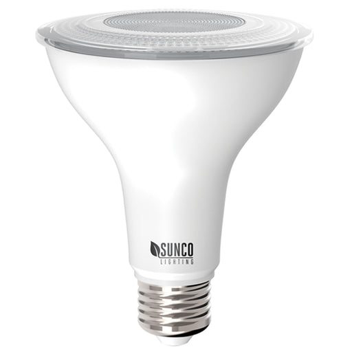 Sunco Lighting PAR30 LED Bulb with an E26 base is dimmable, IP65 rated so it is wet rated for outdoor use. Ideal as a spotlight with its narrow 40-degree light beam. This is an 11W bulb that is a 75W equivalent. This lamp is wet rated as an exterior lighting solution or you can use it in wet areas inside like your bathroom or kitchen. PAR spot light bulbs are great in recessed cans as downlights for task lighting inside or to highlight landscape features and architecture outside.