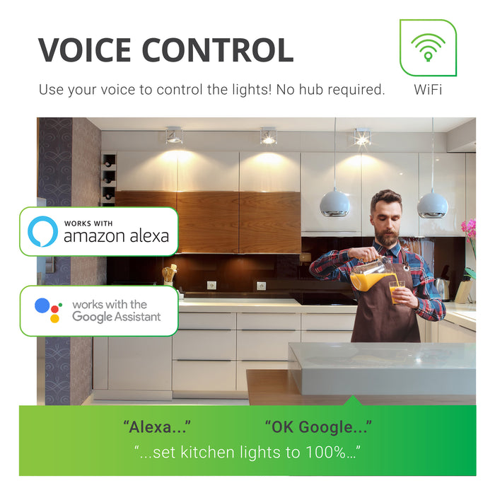 Use your voice to control the lights with your Sunco PAR30 LED Smart Bulb. No hub required for control. However, voice control works with Alexa and Google Assistant in coordination with the Smart Life App and your smart device.