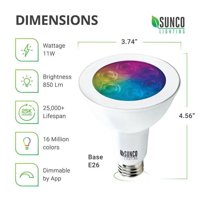 PAR30 LED Smart Bulb Dimensions: Diameter: 3.74 inches, Height: 4.56 inches, Base: E26. Other specs: Brightness: 850 Lumens, Wattage: 11W, Voltage 120V. This bulb is dimmable, includes tunable white, and a choice of 16 million colors.