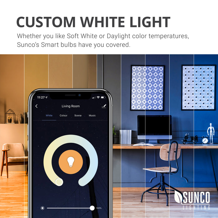 Custom White Light. Whether you light Soft White or Daylight color temperatures, Sunco Lighting LED Smart Bulbs like this PAR30 LED Smart Bulb have you covered. Use the easy color wheel to swipe and select the CCT white light color temperature you prefer in each room. Image shows a closeup of the easy app on a smart phone and a simulation in an office and living room of warm to cool color temperatures to show the light quality choices available with just a single smart bulb.