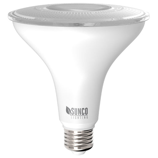 This Sunco PAR38 LED Bulb with an E26 base includes a Dusk to Dawn sensor and a radar motion sensor. The Dusk to Dawn feature means the light will only turn on at night, when no light is detected by the sensor. The radar motion sensor means that, if no light is detected, the sensor will detect motion within 15ft and turn on when needed. The light will then stay on while motion continues, but will stop after 25 seconds of no detected motion. Bulb is a spotlight with a 40-degree beam angle.