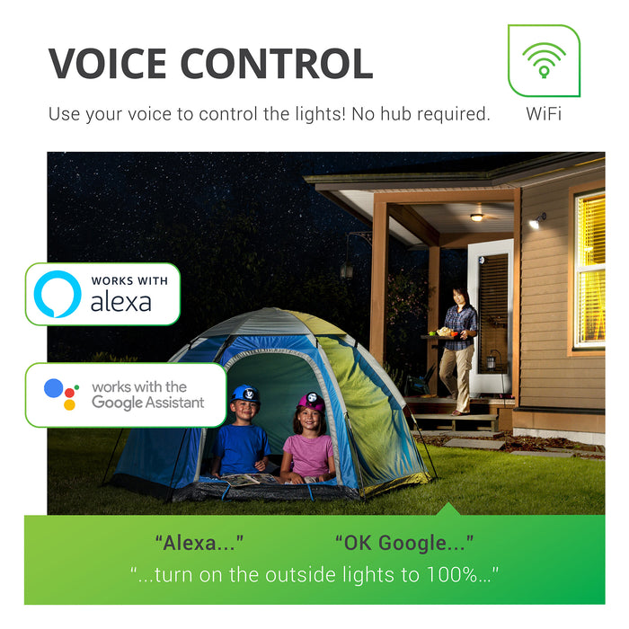 Use your voice to control the lights with your Sunco PAR38 LED Smart Bulb. No hub required for control. However, voice control works with Alexa and Google Assistant in coordination with the Smart Life App and your smart device.