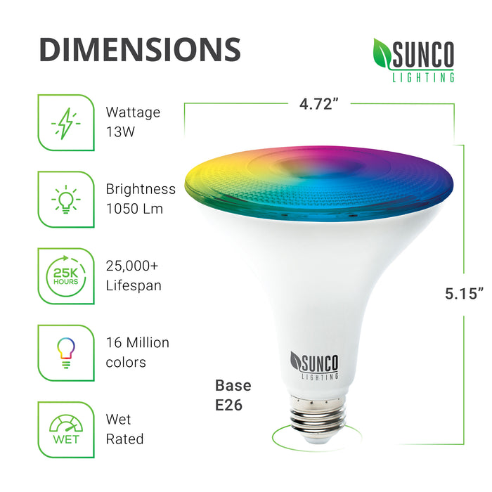PAR38 LED Smart Bulb Dimensions: Diameter: 4.72 inches, Height: 5.15 inches, Base: E26. Other specs: Brightness: 1050 Lumens, Wattage: 13W, Voltage 120V. This bulb is dimmable, includes tunable white, and a choice of 16 million colors.
