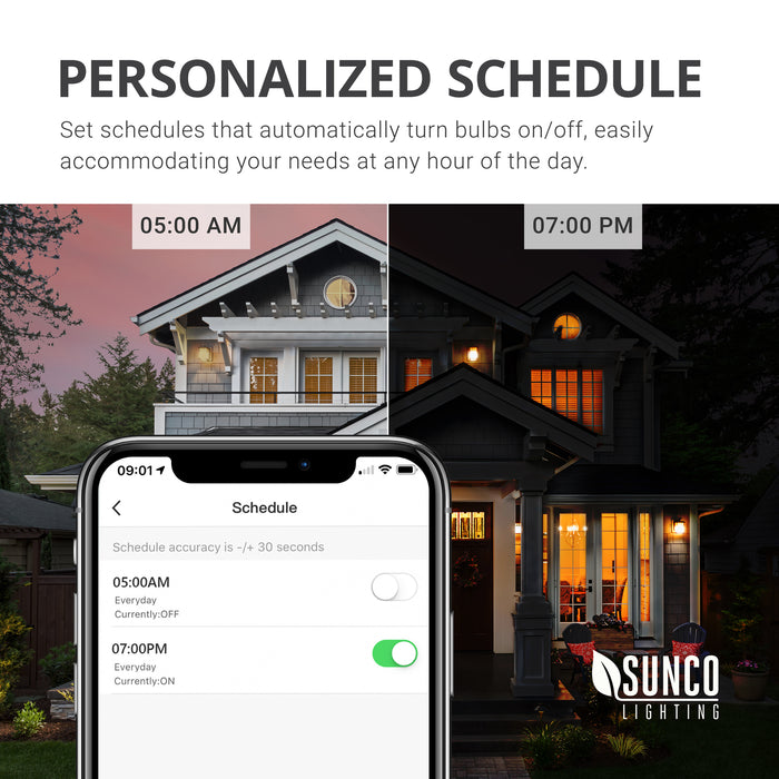 You can personalize the schedule of your PAR38 LED Smart Bulb from Sunco. Set schedules that automatically turn bulbs on or off to easily accommodate your needs at any hour of the day. Image shows phone screen with app as you schedule the timing of your smart bulbs and a house at night and during the day.