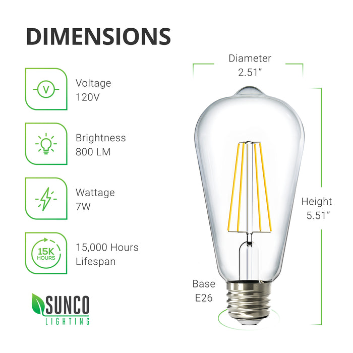 ST64 LED Bulb, Filament, Dusk to Dawn