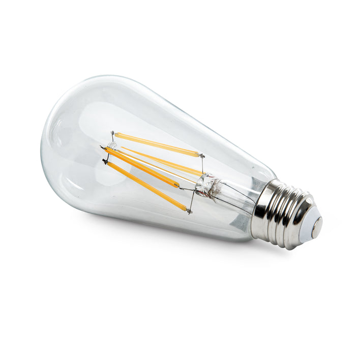 Unique vintage style of the Sunco ST64 LED Bulb Filament offers LED technology and a retro look of an Edison style bulb. Clear glass, an exposed LED filament inside delivers the popular retro styling everyone wants.