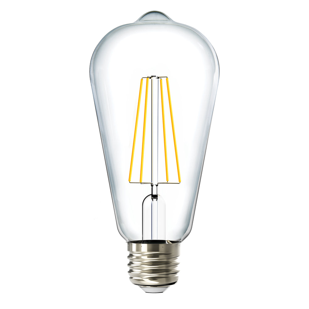 Sunco ST64 LED Bulb Filament Dusk to Dawn with a clear glass housing and LED filaments inside in an E26 base provides retro styling and the popular vintage look of an Edison-style bulb. Wet Rated for outdoor use in string lights. Includes Dusk to Dawn so your lights automatically turn on when the photocell sensor detects no light and off again when light returns. Also known as an ST19 Filament Bulb.