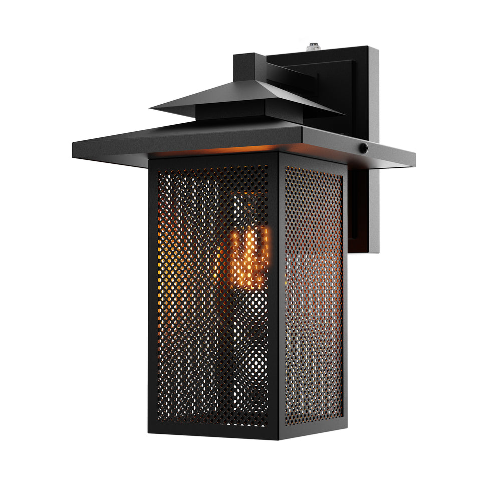 Wet Rated with Dusk to Dawn capabilities, the Sunco Eaton Caged Wall Sconce features a rust resistant, wrought iron frame and steel mesh panes where glass would be in a shade. This all-metal look enhances the arts and crafts movement styling of this hanging wall light. The fixture is compatible with both incandescent (60W max) and LED (9W max). Direct wire to an exterior wall for automatic on/off lighting with no timer. A built-in dusk to dawn sensor does all the work for you. Accepts E26 base.