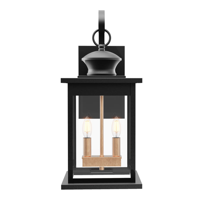 Seen from the front, the Sunco Babcock 2-Light Caged Wall Sconce features two E12 sockets inside a glass pane and rust resistant, wrought iron frame in a matte black finish. This hanging wall lantern features a built in Dusk to Dawn sensor to detect light levels and then automatically turn on/off the light. No timer is needed for the Dusk to Dawn sensor to function. Just install the light and turn on the switch and the Dusk to Dawn sensor does all the work for you.