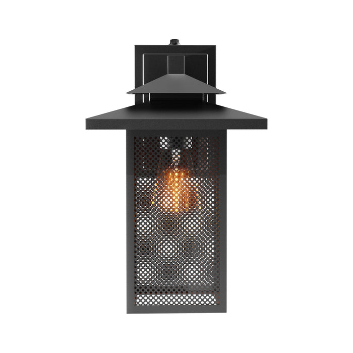 Seen head-on in this image, the Sunco Eaton Caged Wall Sconce with Dusk to Dawn is wet rated for exterior use. The IP65 fixture includes a rust resistant, wrought iron frame with a matte black finish. Steel mesh panes sit in the iron frame to enhance the arts and crafts movement look of the roofline of this hanging wall lantern. Note the Dusk to Dawn sensor at top of the wall mount. Easily install this direct wire fixture to an exterior wall near a doorway or along a pathway or near a garage.