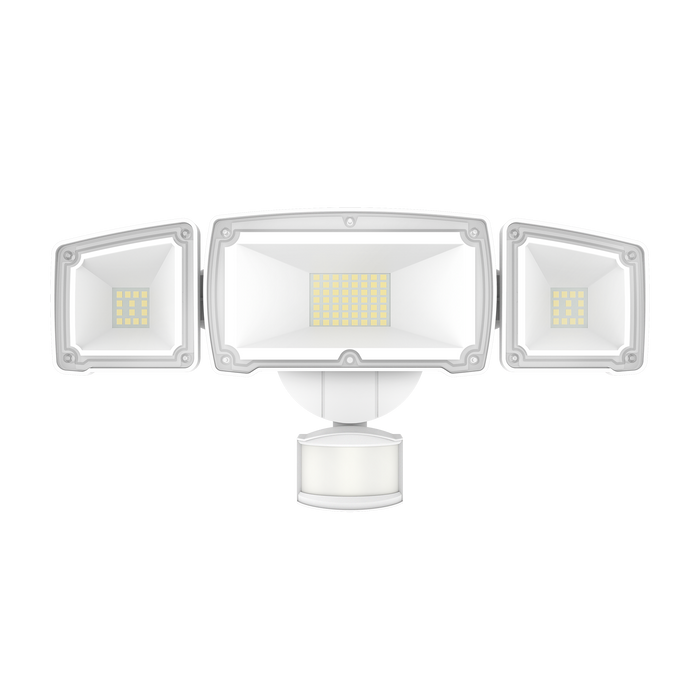 The Sunco 3 Head Security Light provides automated, bright 3600 lumens LED light at night. It includes a sensor to detect motion then automatically turn on/off the light, based on how you program the time setting and the distance or motion sensitivity levels. Featuring 3 adjustable LED heads, this light is airtight and wet rated for exterior use. The IP65 rating means you can add it to garages, walls, entryways, alleys, parking garages for bright light where you need it most.