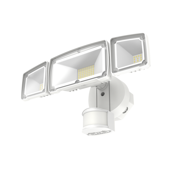 The Sunco 3 Head Security Light includes a Dusk to Dawn sensor that reacts to automatically turn on light when motion is detected at night. This helpful crime deterrent offers a long lifetime of 50,000 hours, along with low wattage. Each of the 3 heads, and the base or mount point below, can be adjusted to move the LED heads and point the light right where you need it.