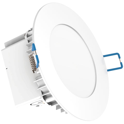 The thin profile of the IC rated Sunco 4-inch Slim with Integrated Junction Box is clearly seen here. Image shows the smooth trim, mounting clips, integrated j-box, knockouts, and all-in-one aspect of this easily installed downlight. The 10W LED is a 60W equivalent to conserve energy and reduce monthly electric bills when compared to an equivalent traditional 60W fixture. With 35,000 lifetime hours, this downlight provides 650 lumens of bright light with a 110-degree beam angle.