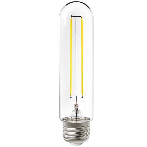 Sunco's T10 LED Tubular Filament Bulb 5 W features a vintage style, clear glass housing with visible LED filaments inside. Includes an E26 base. Ideal for creating a retro look and vintage styling of this tubular bulb. Use in indoor or outdoor applications in open fixtures and suspended or pendant fixtures. Great for restaurants, patios, wall sconces, and dining room fixtures.